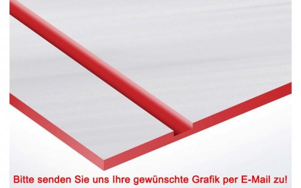 Metallic Kunststoffschild Edelstahl/Rot