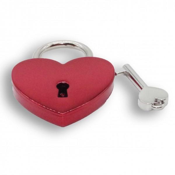 Liebesschloss: Herzschloss rot - farbig
