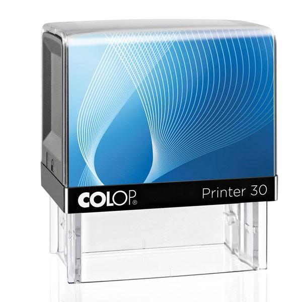 Der Colop Printer 30 mit Textplatte blau